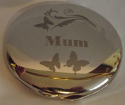 Silver Finish Engraved SWIRL & BUTTERFLIES Butterfly Round Compact Mirror for MUM Great Idea Birthday Gift Mummy Presents for Mums Christmas Mothers Day Gifts Ideas