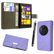STYLE YOUR MOBILE NOKIA LUMIA 1020 LILAC CRYSTAL DIAMOND PU LEATHER CARD POCKET BOOK FLIP CASE COVER POUCH + FREE STYLUS