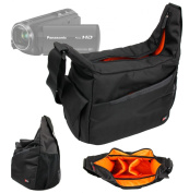 DURAGADGET Rugged Shoulder 'Sling' Carry Bag with Adustable Interior & Multiple Compartments for Panasonic HC_V250EB-K / HC-V550 HD / HC-750 HD / HC_V130 HD / HC-W850 HD 1080p Twin Camcorder