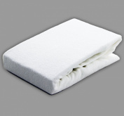 Fitted Terry Cot Sheet White, Stretch Towelling White Cotton. 60 x 120cm.