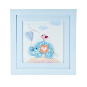 """Handcrafted Pastel Blue """"Little Elephant"""" Wall Picture Decoration for Baby Boys Nursery Room"""