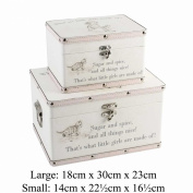 """Luggage series - Set of 2 Baby Storage Boxes - """"Little Girls"""""""