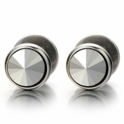 8MM Mens Stud Earrings Stainless Steel Illusion Tunnel Plug Screw Back with Metallic Spike CZ, 2pcs