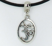 Om aum mantra charm on Premium quality leather choker / necklace (chocker)+ Made in UK +