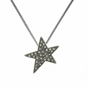 Esse Marcasite Sterling Silver Art Deco Star Pendant With 45cm Chain