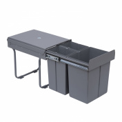 Homcom Kitchen Recycle Waste Bin Pull Out Soft Close Dustbin Recycling Cabinet Trash Can Grey (40L