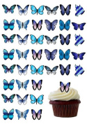 48 X PRE-CUT BLUE MIX BUTTERFLY EDIBLE RICE / WAFER PAPER CUP CAKE TOPPERS BIRTHDAY PARTY WEDDING DECORATION