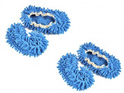 Pack of 2 Viskey Comforable Dust Mop Slippers Shoes Floor Cleaner, Blue