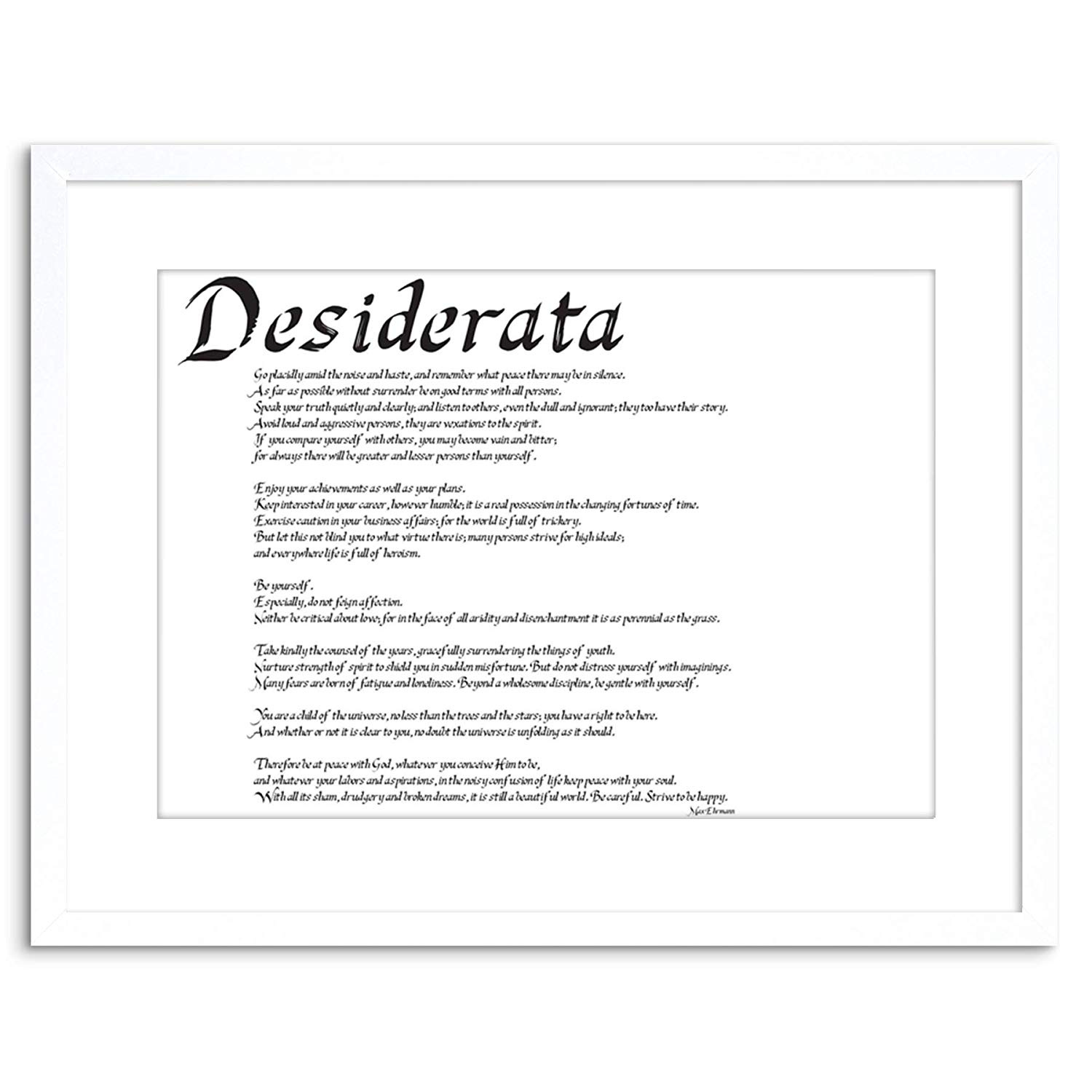 graphic regarding Desiderata Printable identified as 23cm x 18cm DESIDERATA Shift PLACIDLY Amongst Sounds HASTE Estimate TYPOGRAPHY EHRMANN FRAMED WALL Artwork PRINT Visualize Portray Picket Image Body BLACK WHITE OAK