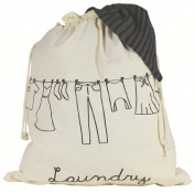 Cream Cotton Bathroom Laundry Bag