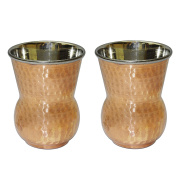 Water drinking Glasses set Mughlai Tumbler Indian Drinkware Accessory Copper and Stainless Steel, Capacity 400 ML