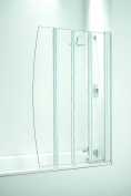 Coram Showers SFD4CUW 1400mm x 865mm 4-Panel Folding Bath Screen with 4mm Thick Clear Glass - White