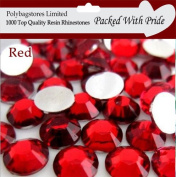 Pack of 1000 x Red 3mm Crystal Flat Back Rhinestone Diamante Gems *Factory Sealed & Labelled*