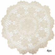 kilofly Crochet Cotton Lace Table Placemats Doilies Value Pack, 4pc, Rosary, Beige, 50cm