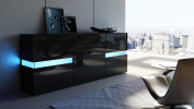 Sideboard Chest of Drawers Flow in Black matt / Black High Gloss