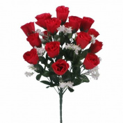 18 head RED rose buds artificial flower bush weddings/graves