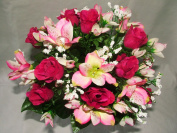 Luscious Artificial Silk Pink Rose & Alstromeria Bush with Gyp - 18 flower heads- Wedding Grave Home Decoration