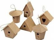 6 Mini Paper Mache Birdhouse or Bird Box Ornaments | Papier Mache