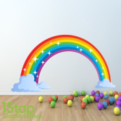 1Stop Graphics - RAINBOW FULL COLOUR WALL STICKER - BOYS GIRLS GRAPHIC C341 - Size