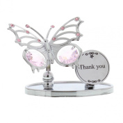Crystocraft Keepsake Gift - Chrome Plated Butterfly Gift Ornament THANK YOU with Swarvoski Crystal Elements