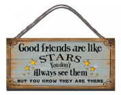 Shabby Chic Wooden Funny Sign Wall Plaque Good Friends are like Stars You Don't Have To See Them To Know They Are There Gift Present