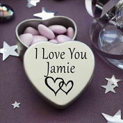 I Love You Jamie Mini Heart Tin Gift For I Heart Jamie With Chocolates. Silver Heart Tin. Fits Beautifully in the Palm of Your Hand. Great as a Birthday Present or Just as a Special Gift to Show Somebody How Much You Love Them.