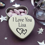 I Love You Lisa Mini Heart Tin Gift For I Heart Lisa With Chocolates. Silver Heart Tin. Fits Beautifully in the Palm of Your Hand. Great as a Birthday Present or Just as a Special Gift to Show Somebody How Much You Love Them.