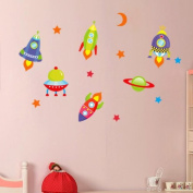 DecoBay Space Wall Stickers Rockets, UFO, Stars and Sun Premium Nursery Wall Stickers - Removable and Repositionable