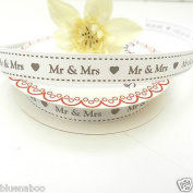 Always Knitting And Sewing Per Metre Wedding Day, Mr & Mrs, Love Ribbon 16mm Wide Mr & Mrs, Cream 145