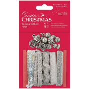 Docrafts Bead and Ribbon Pack, Silver
