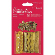 Docrafts Bead and Ribbon Pack, Gold