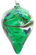 Small Green Handmade Recycled Glass Friendship Ornamental Teardrop Ball Bauble