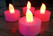 domire red 12 Candle Set Flickering LED Candles, Flameless Tea Lights for Decoration, Festivals,