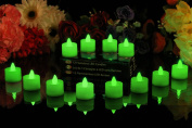 PK Green LED Battery Candles, Set of 12, Green