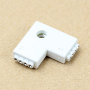 HeroNeo® 1pc RGB L Shaped 4 Pins 2 Way Female Connector Adapter For 3528 5050 LED Strip Light