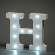 Up in Lights Decorative LED Alphabet White Wooden Letters - Letter H