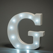 Up in Lights Decorative LED Alphabet White Wooden Letters - Letter G