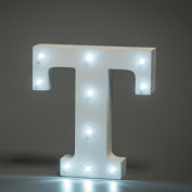 Up in Lights Decorative LED Alphabet White Wooden Letters - Letter T