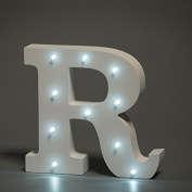 Up in Lights Decorative LED Alphabet White Wooden Letters - Letter R