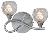 Modern Chrome 2 Arm Wall Light Complete with Bubble Glass Shades