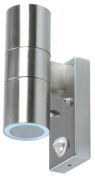 Ranex Dimaro Brushed Stainless Steel Wall Light With Movement Sensor, 2 X 35w Gu10 (incl) Ip44