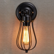 LES® YOBO Lighting Industrial Edison Mini Black Wire Cage Wall Sconce