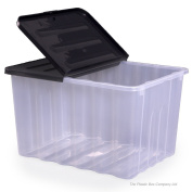 Strata 110lt Super Nova Large Plastic Storage Box and Lid (Pack of 2) Clear/Black Lid
