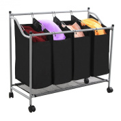 Songmics Laundry Sorter Cart Trolley with Sturdy Metal Frame on wheels Capacity