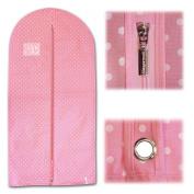 "Hangerworld Single Pink Polka Breathable Garment Coat Cover Bag - For all Clothes & Dresses 45""x22"""