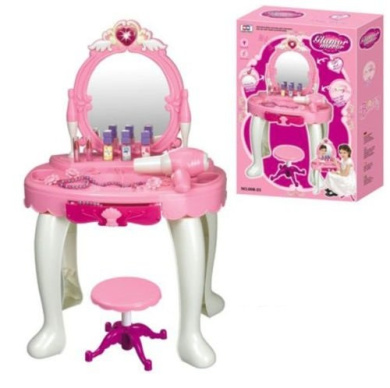 Amazing DURABLE NEW KIDS GIRLS DRESSING TABLE MIRROR PLAY SET GLAMOUR BEAUTY MAKEUP  GAME TOY GIFT