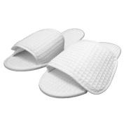 TowelRobes Waffle Spa Velcro Open Toe Unisex Slippers - White