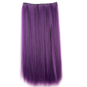 Wigico One Piece Straight Synthetic Thick Hair Extension Clip-on Hairpieces (dark purple)// Dark Purple Colour Clip in Hair Extension Straight for Fashion Cool Women