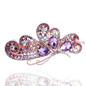 So Beauty Adorable Flank Butterfly Wings Shaped Crystal and Rhinestone Hair Barrette Clip Accessary Purple