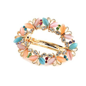 So Beauty Women's Multi-Butterflies Shaped Cat's Eye Gemstone and Rhinestone Hair Barrette Clip Accessary Mixed Colour